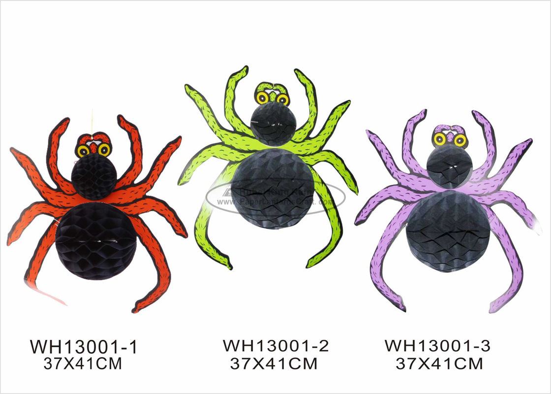 Orange Purple Paper Halloween Decorations With 30cm Halloween Spider Honeycomb Shaped