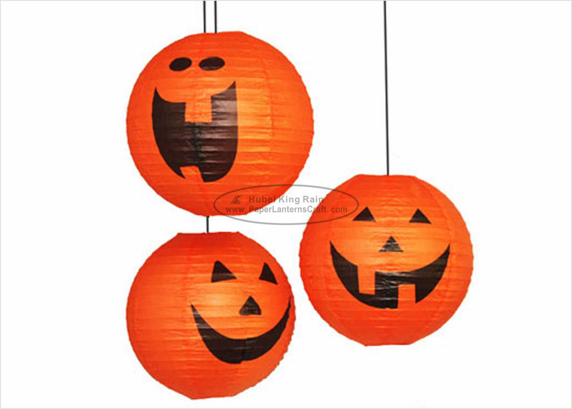 "Hanging Halloween Paper Lantern Lights / 14"" 16"" Pumpkin Paper Lanterns Craft"