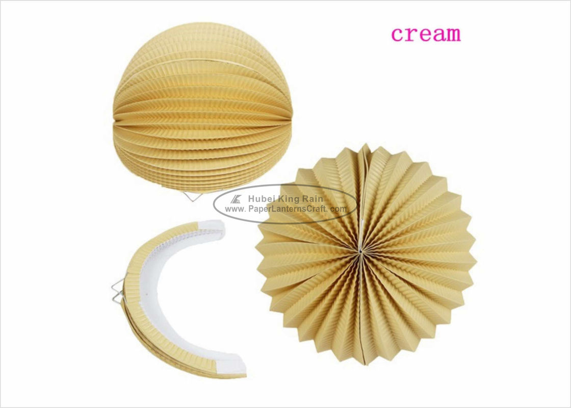 "China 8"" 10"" Cream Ball Paper Lanterns Decoration Solid Color For Amusement Park factory"