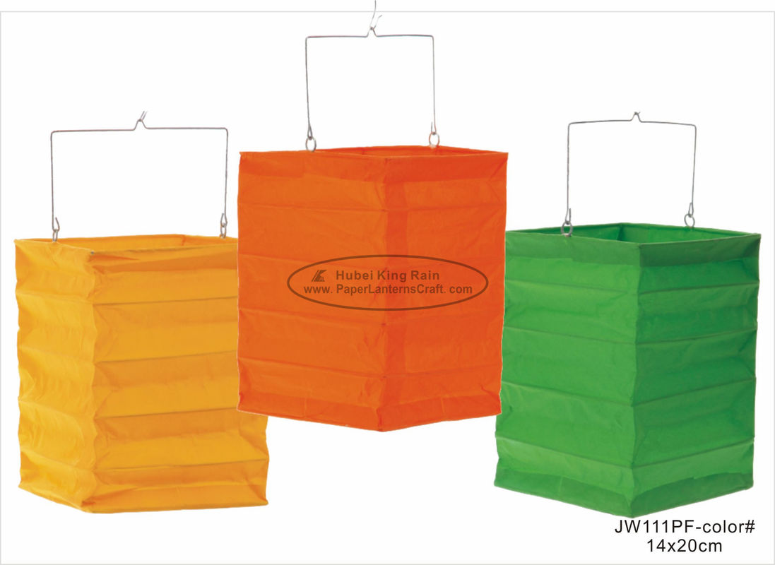 China Orange Green Square Hanging Paper Lanterns 13 X 20 Cm For Party Decoration factory