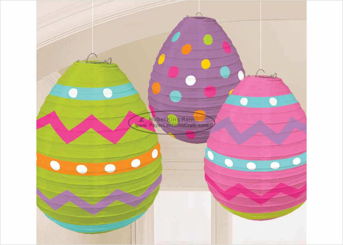 "Easter Egg Paper Lanterns Craft 10"" 12"" 14"" With Printed Dots Pattern"