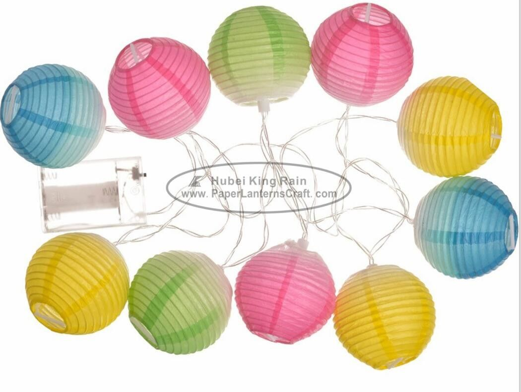 Gradient Color printed Battery Operated Paper Lantern String Lights 7.5 Cm Energy Saving Led Party Decor