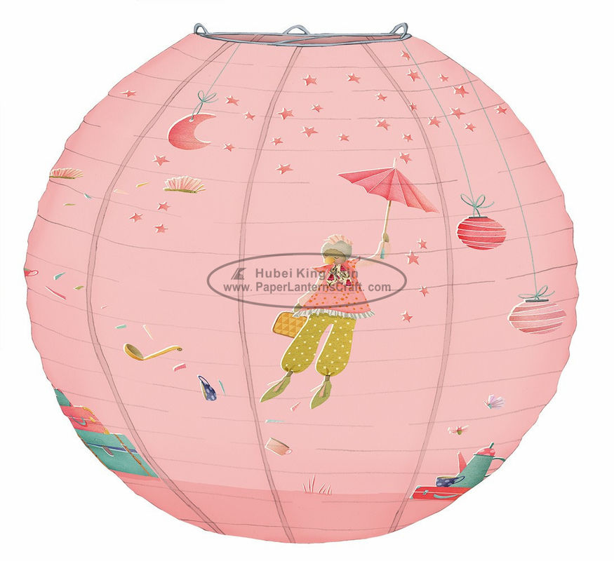 Pink Princess printed Kids Paper Lanterns summer party decoration promption