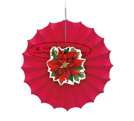 Christmas Home Decorations Paper Fan Round Folding Fans Hanging Party