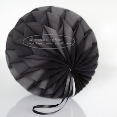 Dark Grey Tissue Paper Honeycomb Balls Pom Poms With Satin Ribbon Loop For Hanging